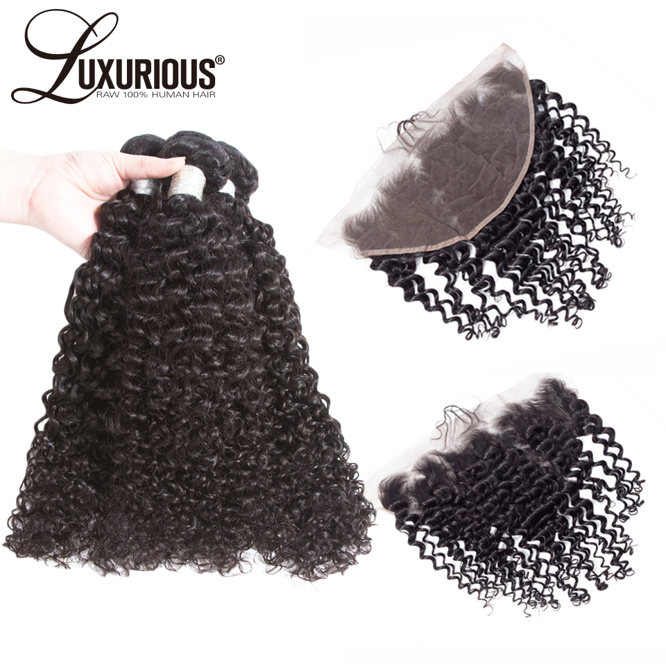 Curly Human Hair Extensions 4 PCS Lot Malaysia Remy Hair Bundles With Closure 13 6 Frontal