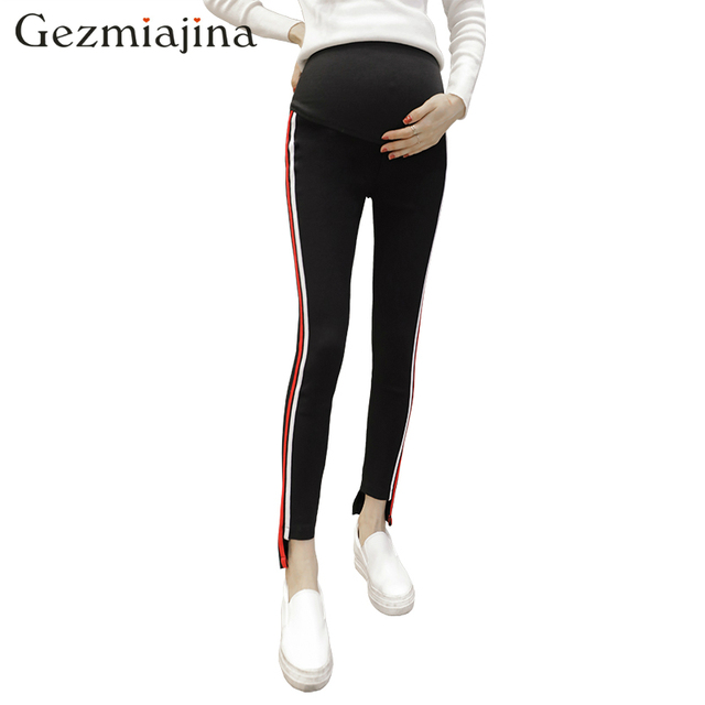 3862201ca0f28 Spring Autumn fashion pregnancy wear leggings pregnant women striped pants  maternity trousers Care for the abdomen