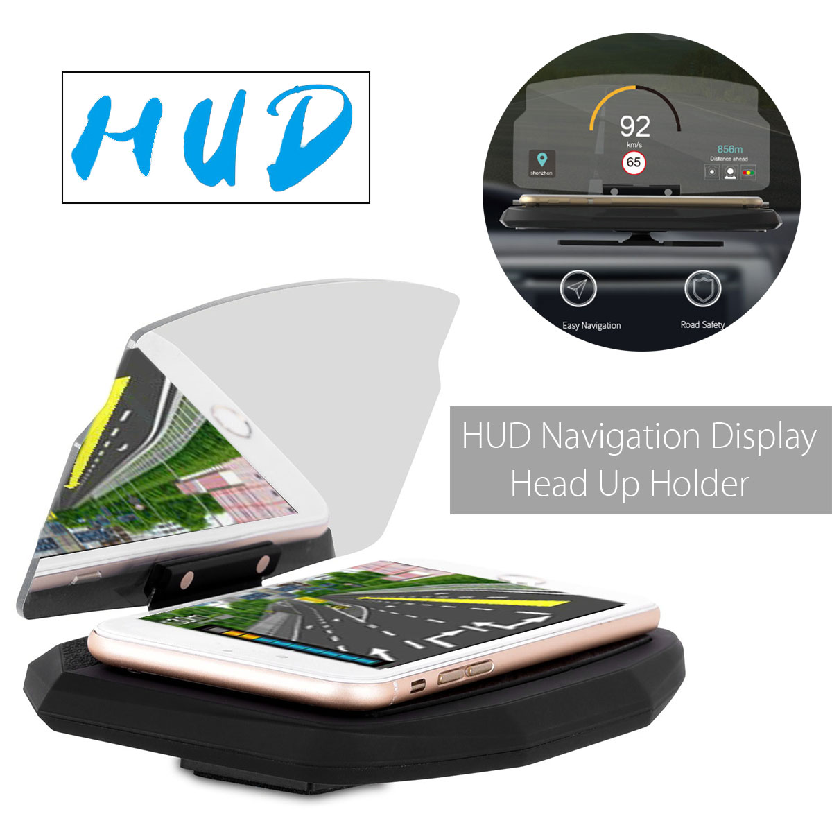 6.5 Inch Universal HUD Head Up Display Car Dashboard Mobile Phone Holder Multifunction Projector For iPhone 8 X For Samsung GPS