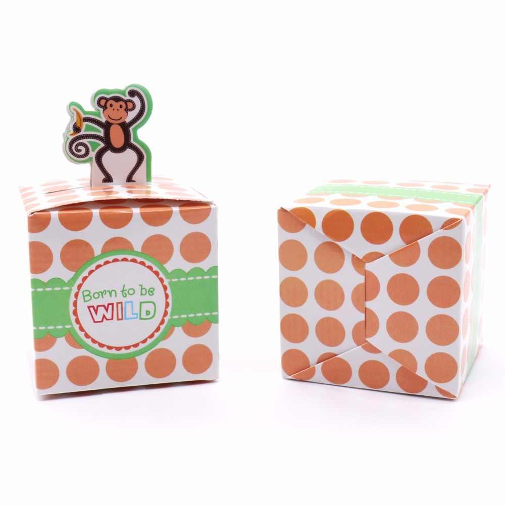 50 pcs encantador dos desenhos animados animal caixa dos doces Caixa de Presente Embalagem Caixa Queque Girafa Elefante Macaco Tigre Menino do Aniversário Dos Miúdos Ddecoratio
