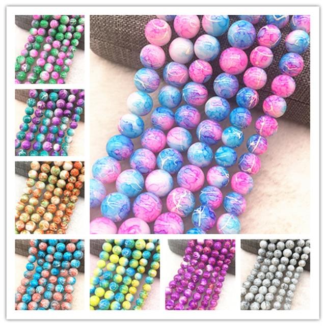 Gros 4/6/8/10mm perles de verre rondes en vrac modèle de perles d'espacement pour la fabrication de bijoux collier de bracelet à bricoler soi-même