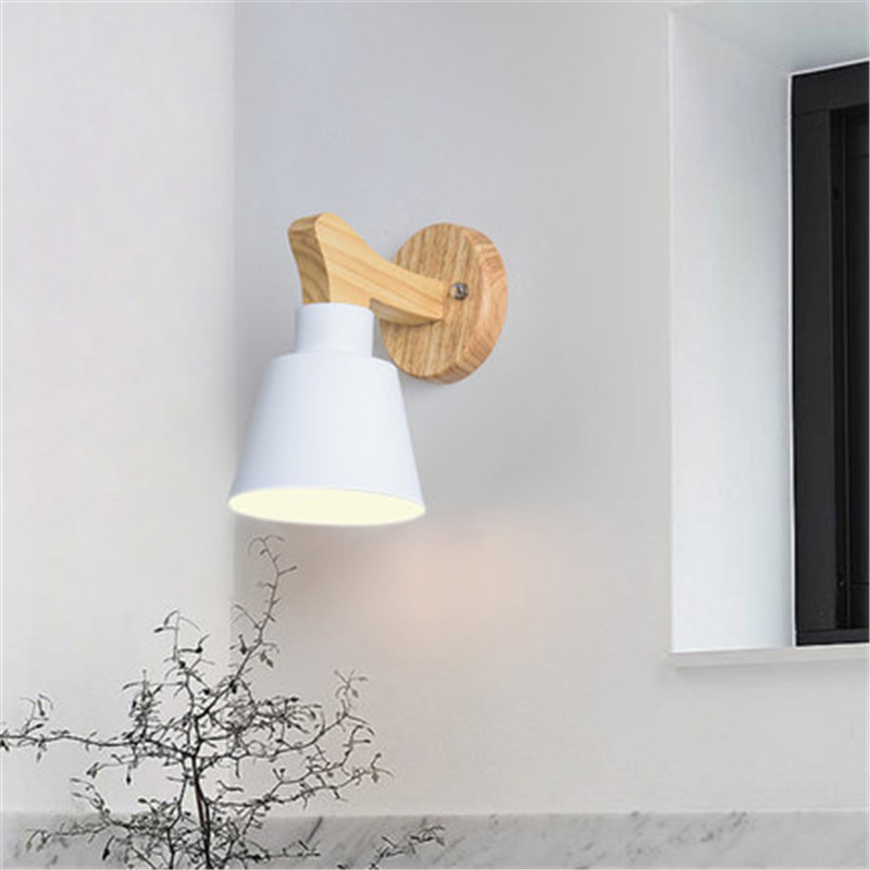 Loft Simple Modern LED Wall Light Wood Iron Bedside Wall Lamp E27 Wall Sconce Fixtures Home Lighting simple modern led wall lamp reading switch adjust wall light fixtures home fabric shade bedside wall sconce indoor lighting