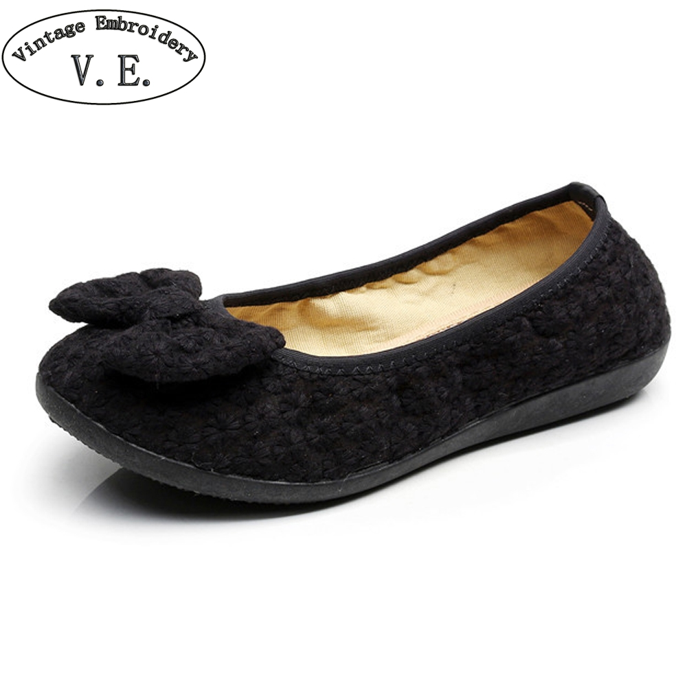 Donna Nero scarpe Flats scarpe Nero Old Beijing Bow Cloth Bowtie Loafers Casual   31ef2d