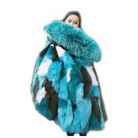 Kore Kış Için Parkas 2017 Tilki Kürk Astarlı Rüzgarlık ceket Ordu Yeşil Gerçek Kürk Coats Kabarık Hoodies Rusya Kadınlar ceket