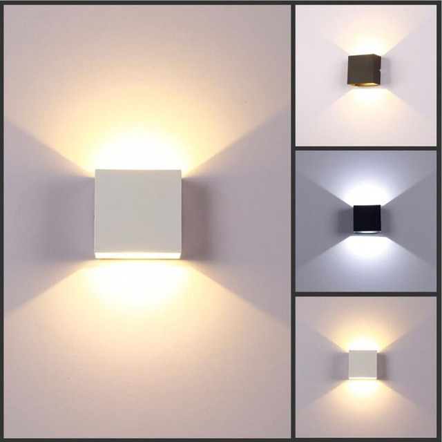 6w Dimmable Led Wall Lamp Luminaire Pared Lamparas Sconce Bedroom Rail Project Square Bedside Room Light Arts