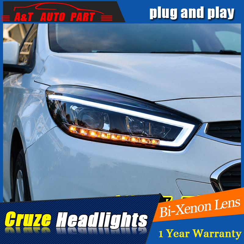 A&T Car Styling For Cruze headlights  For Cruze  LED head lamp Angel eye led DRL front light Bi-Xenon Lens xenon HID