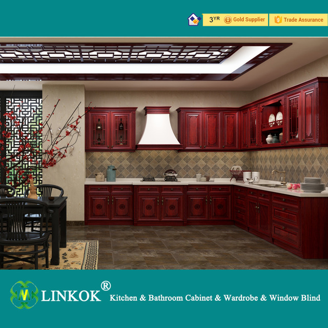 Linkok Furniture Modern high gloss solid wood kitchen cabinet - best modern  high glossy solid wood