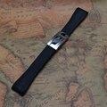 Frete Grátis 20mm New Mens Preto Mergulhador Relógio Do Esporte de Borracha de Silicone Watchband BANDAS Strap com Implantação Fecho Acessórios