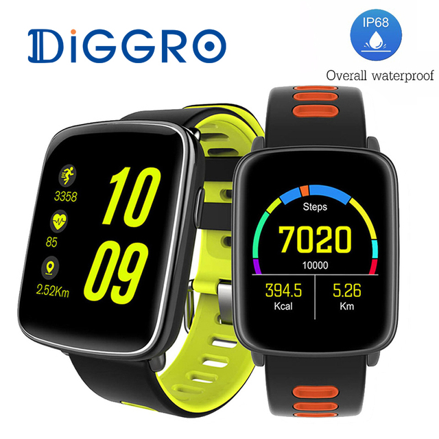 Add Free Strap! DIGGRO GV68 MTK2502 Smart Watch IP68 Waterproof BT4.0 Sport Heart Rate Clock Call Reminder For IOS/Android
