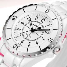 SINOBI Femmes Montres Dames Quartz Marque De Mode Montre Bracelet Blanc Imitation Céramique Femmes Quartz Horloge relogio feminino
