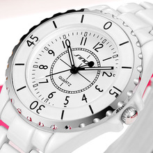 SINOBI Women Watches Ladies Quartz Brand Fashion Watch White Strap Imitation Ceramic Women Quartz Clock relogio feminino