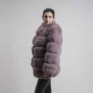 Image 4 - QIUCHEN PJ8142 2020 الشتاء 70 سنتيمتر النساء ريال فوكس معطف الفرو مع الثعلب الفراء طوق طويلة الأكمام معطف حقيقي الثعلب الزي جودة عالية