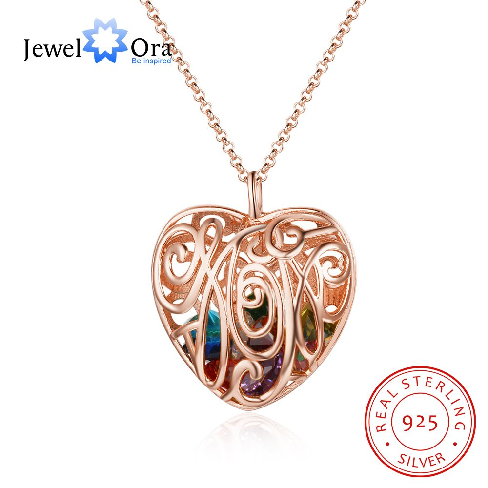 Heart Hollow Pattern With Birthstone Personalized Gifts For Love Rose Gold Color Pendant Necklace Jewelry(JewelOra NE102668) cute love heart hollow out kitten pendant necklace for women