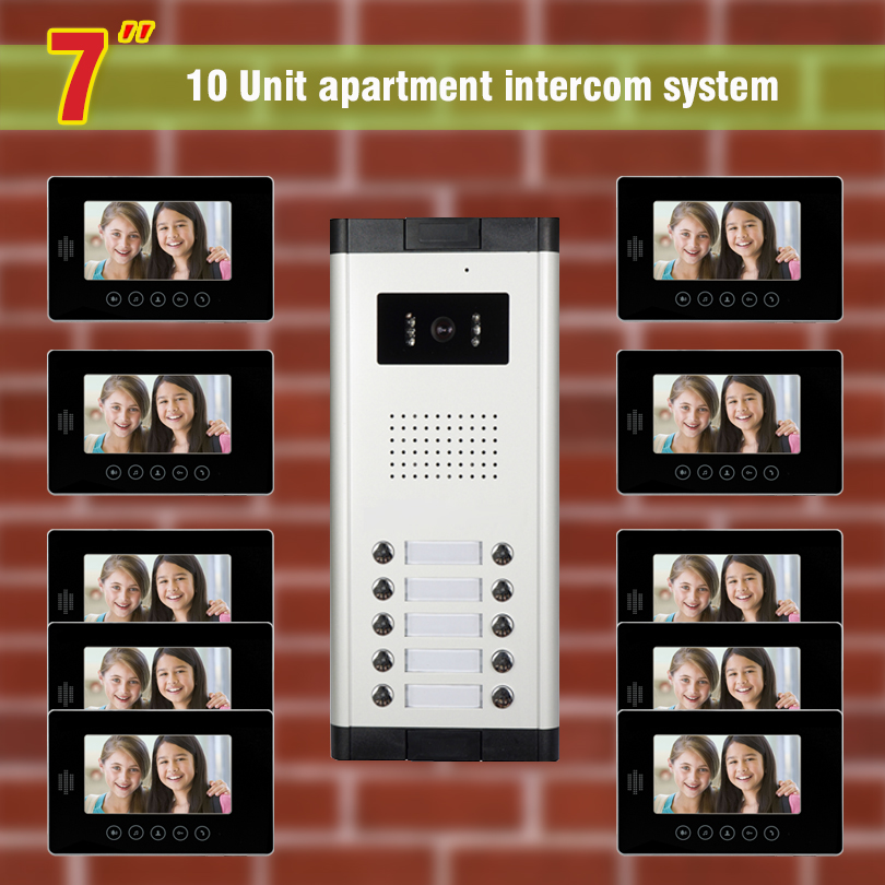 10 units apartment video intercom System video door phone intercom doorbell Kit for apartment visual intercom interphone my apartment