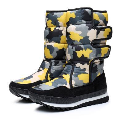2017 winter camouflage thickening medium tube waterproof and anti skid fashion snow boots ladies fashion bottomed skiing shoes