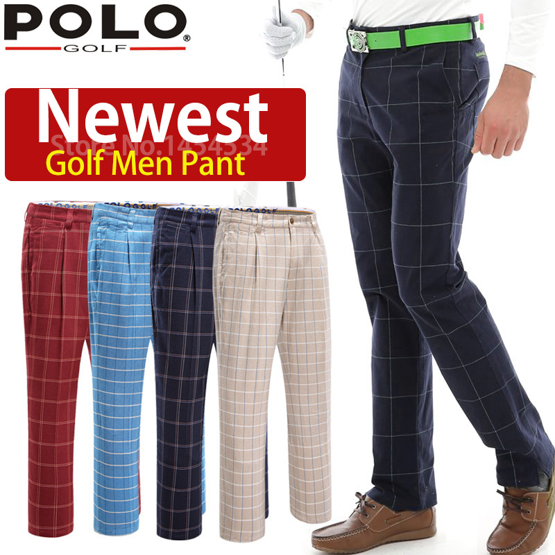 Brand POLO Plaid Men Pants 2018 High Quality Soft Golf Trousers for Fat Men Big Pantalon Cotton Breathble Quick Dry Golf Clothes high quality men s printed jeans punk style cotton straight leg cool jeans for young men comfortable trousers new brand yf52