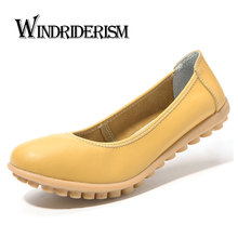 WINDRIDERISM 2017 New Arrival Women Loafers Genuine Leather Flats Solid Color Slip On Shoes Women Leather Casual Shoes