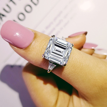 solid 925 sterling silver asscher Cut trapezoid baguette cut Rings for women engagement Luxury rings jewelry personalized