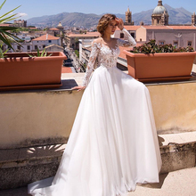 2020 Illusion Scoop Boho Wedding Dresses Chic Lace Bohemian Casual Chiffon Long Sleeve Bride Dress Romantic Beach Bridal Gown