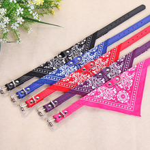 Print Tri-angle Towel Pet Dog Collar Small Size PU Leather Adjustable Puppy Necklace Symmetric Paisley Pet Accessories