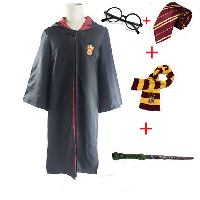 Adult Kids Harri Potter Costume Magic Robe Cloak with Tie Scarf Wand Cosplay Gryffindor Slytherin Hufflepuff Ravenclaw Potter