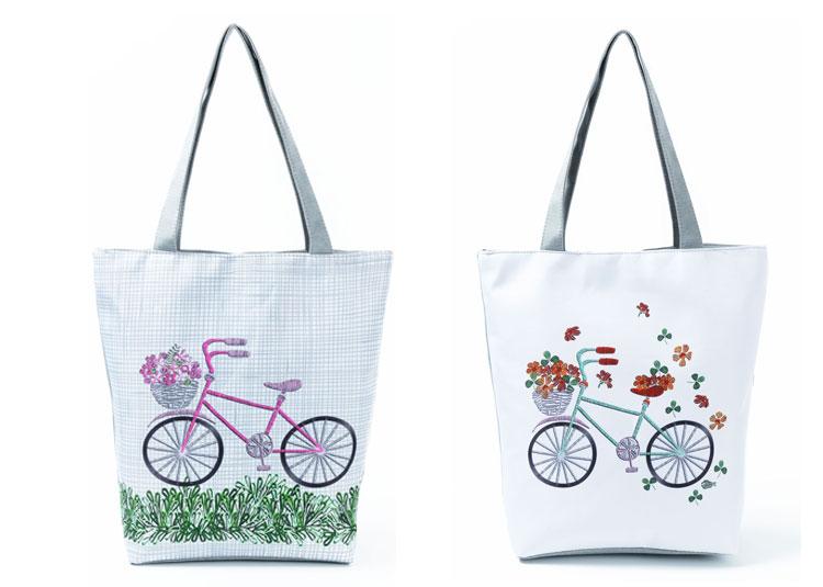 9c63f9009b4b US $6.79 45% OFF|Miyahouse Plaid Design Shoulder Bag Female Bicycle Printed  Canvas Tote Handbag Women Daily Use Single Beach Bag Girls-in Shoulder ...