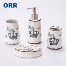 Crown Bathroom set four Ceramic sanitary supplies ware display Cup toothbrush holder soap dispenser Articulos sanitarios ORR