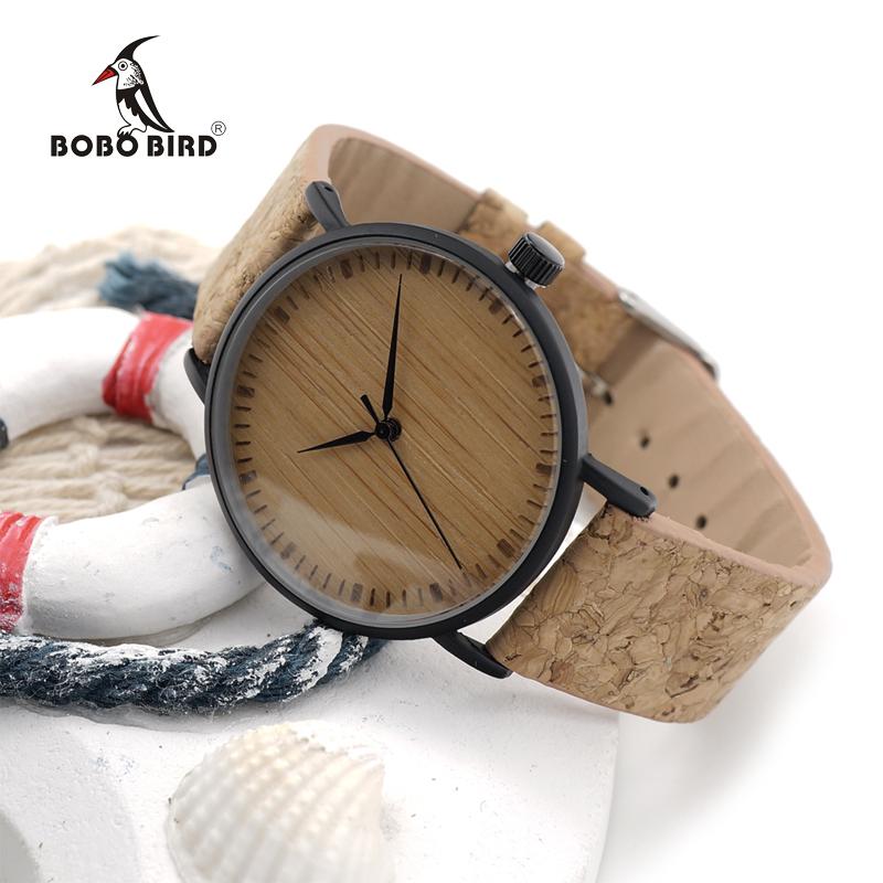 Prix pour Bobo bird e19 nouvelle arrivée top qualité ronde montres bambou montre visage avec Boîtier En Acier Inoxydable Liège En Cuir Bandes avec Boîte-Cadeau