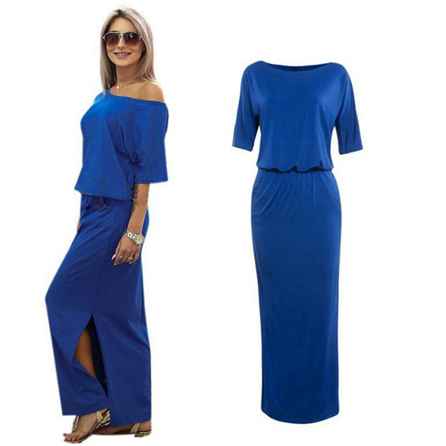 Women Boho Maxi Dress Short Sleeve Side Slit Dress 1