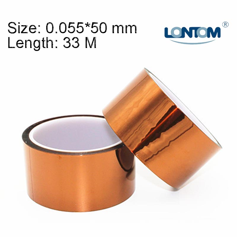 50mm width 33M Kapton Tape High Temperature Heat Resistant Polyimide free shipping 55mm x 33m 100ft kapton tape high temperature heat resistant polyimide fast ship