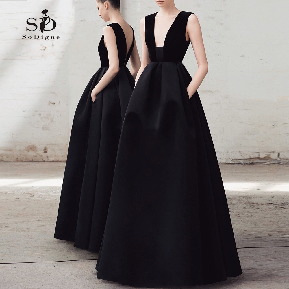 Black Wedding Dress 2018 SoDigne Plus Size Vintage Fmormal Party Dress With Pockets Empire New Arrival Sweep-floor