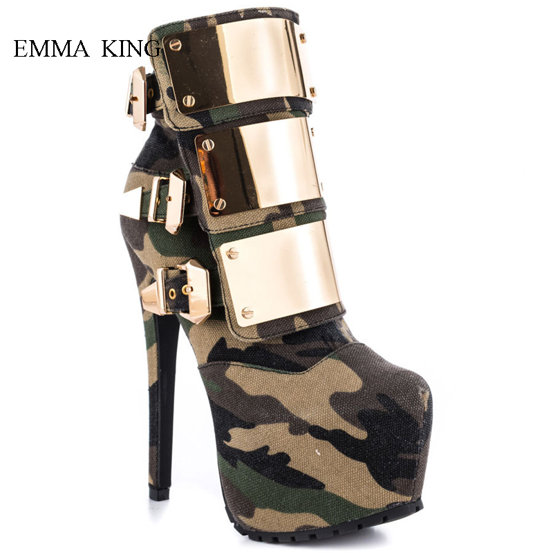 Spring Autumn Shiny Metal Buckle Strap Camouflage Ankle Boots High Platform Women Shoes Mixed Colors High Heels Botines Mujer Spring Autumn Shiny Metal Buckle Strap Camouflage Ankle Boots High Platform Women Shoes Mixed Colors High Heels Botines Mujer
