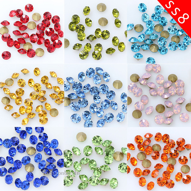 144 1440p ss8 Round color pointed back glass stone czech crystal Diamantes  rhinestones Nail Art Decorations jewelry making beads 05a40edd4208