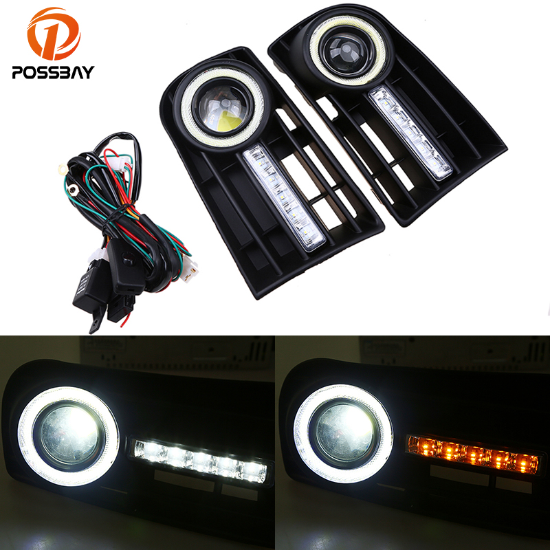 POSSBAY LED Fog Light Daytime Running LightS Front Bumper Grille for VW Golf MK5 2004-2009 White Angel Eyes white fog light grille foglamps grill cover for vw golf rabbit mk5 2003 2009 with hardness switch h3 bulbs p98