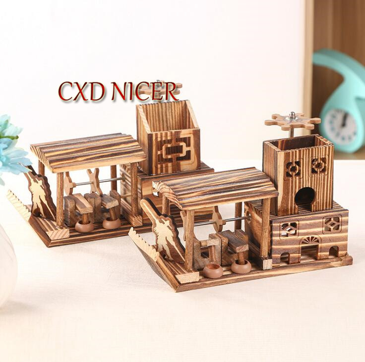 Rabbit Bear Pencil Holder Flow Sand Hourglass Timer Pen Holder Stand For Pens Craft Desktop Birthday Gifts Container