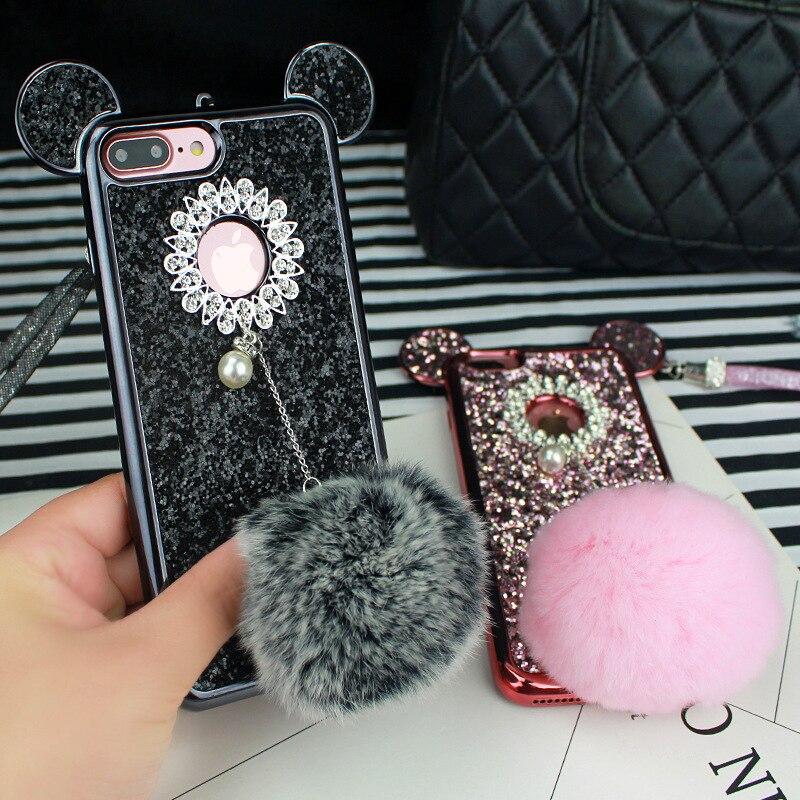 YESPURE Fancy Bling Glitter Cihazı IPhone 6 6s 7 8 plus Celular Fur - Cib telefonu aksesuarları və hissələri - Fotoqrafiya 5