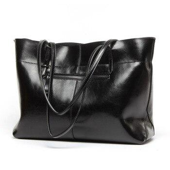 Classic Designer Women Shoulder Bag Large Capacity Handbag Oil Wax Genuine Leather Ladies Totes Bag Dress Business Bag Bolsas