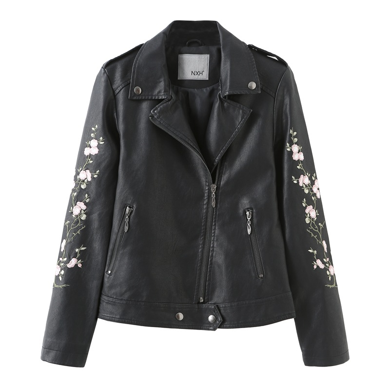 Fashion Faux   Leather   Coat Women Clothes 2019 Spring Autumn New Long sleeve Ladies   leather   jacket Embroidery Black Biker jacket