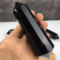 12 faces Natural obsidian obelisk quartz crystal wand double point healing