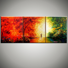Abstract modern 3 piece unframed colorful acrylic decorative picture knife canvas oil painting for living room bedroom decor