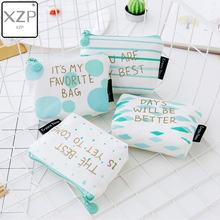 XZP Novelty Letter Print Women Mini Wallet Coin Purse Canvas Portable Keys Cards Holder Kids Girls Change Pouch Coins Purse Bag цена