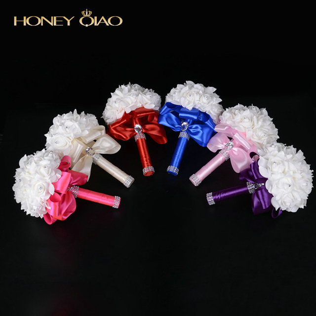 Honey Qiao Bridal Bouquet White Ivory Crystal Artificial Rose Flower Rhinestone Centerpiece Bridesmaid Hand Flower