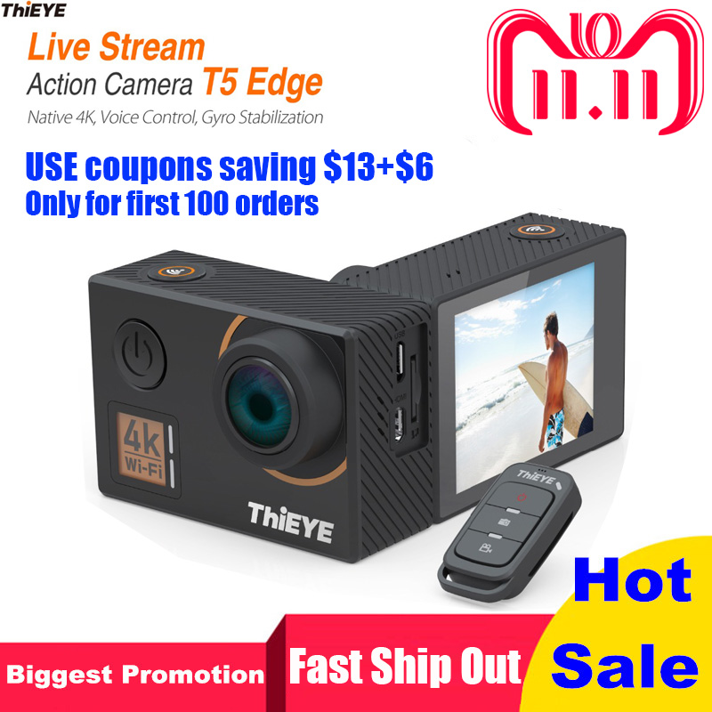 ThiEYE Sport Action Camera 4K 14MP Native WiFi 2'' TFT LCD Screen 1080P Sports Voice Remote control Waterproof Camera T5 Edge free shipping 60m waterproof sport camera dv 129sa with 1080p 2 0 tft lcd screen