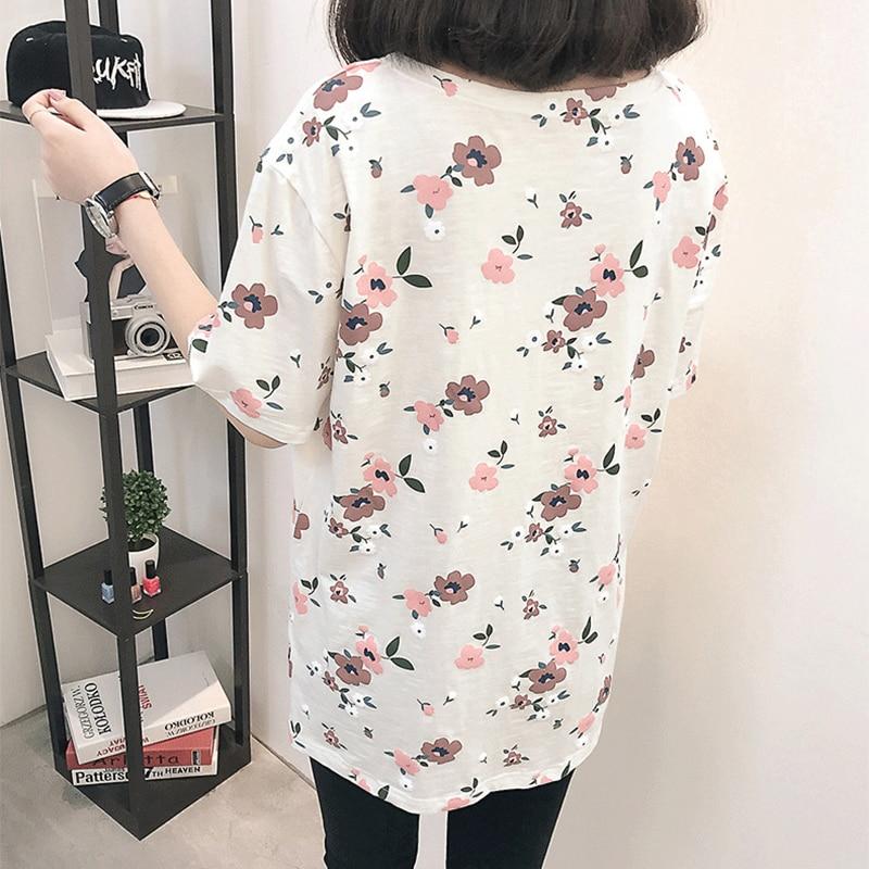 Casual Loose Women Summer T-shirt Womens O-neck Printing Cute T-shirts Female Sweet Girls Tops Females Korean Style New Trendy 4