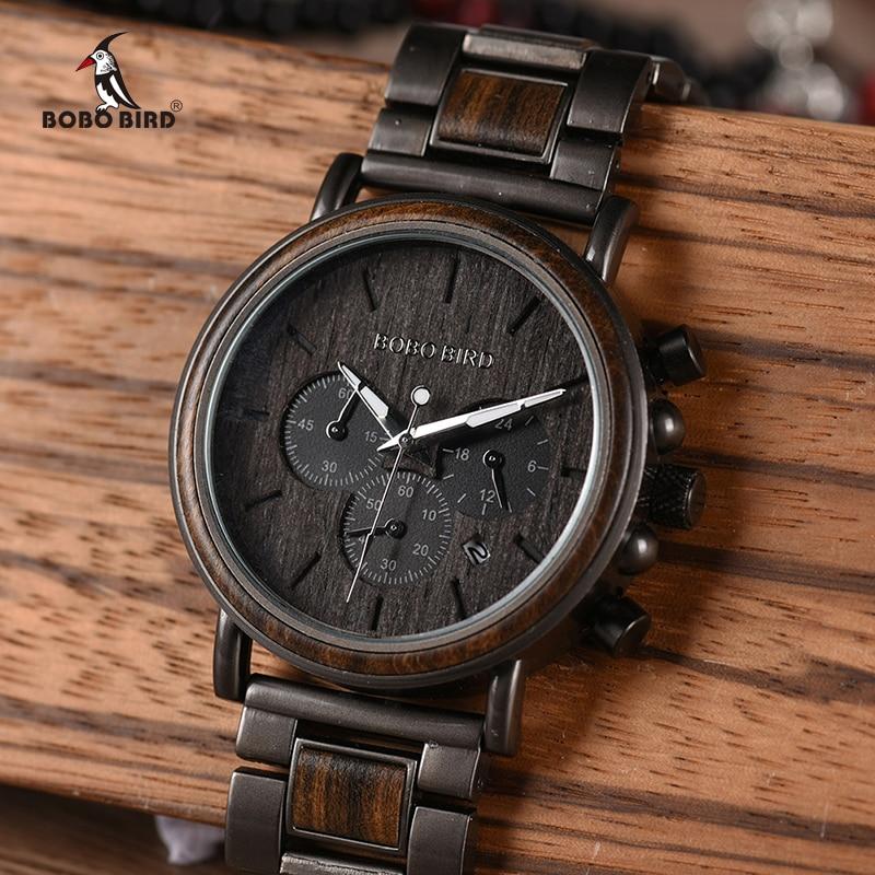 BOBO De Madeira PÁSSARO Dos Homens Relógio Cronógrafo Relógios Militar Relógios Relogio masculino Marca de Luxo Top Elegante em Caixa De Presente De Madeira