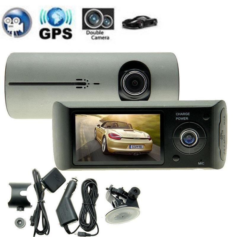 Double Caméra Voiture DVR R300 avec GPS et 3D G-Capteur 2.7 TFT LCD X3000 FHD 1080 p cam Vidéo Caméscope Enregistrement de Cycle