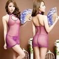 Low cut women's Club purple temptation Luru Nightgown gauze sleeveless cheongsam retro perspective dew bag hip skirt