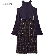 Chic Tweed Skirt 2 Piece Set Women Spring Winter Ins Fashion Sexy Bare Shoulders Knit Sweater+Button Plaid Split Tweed Skirt Set