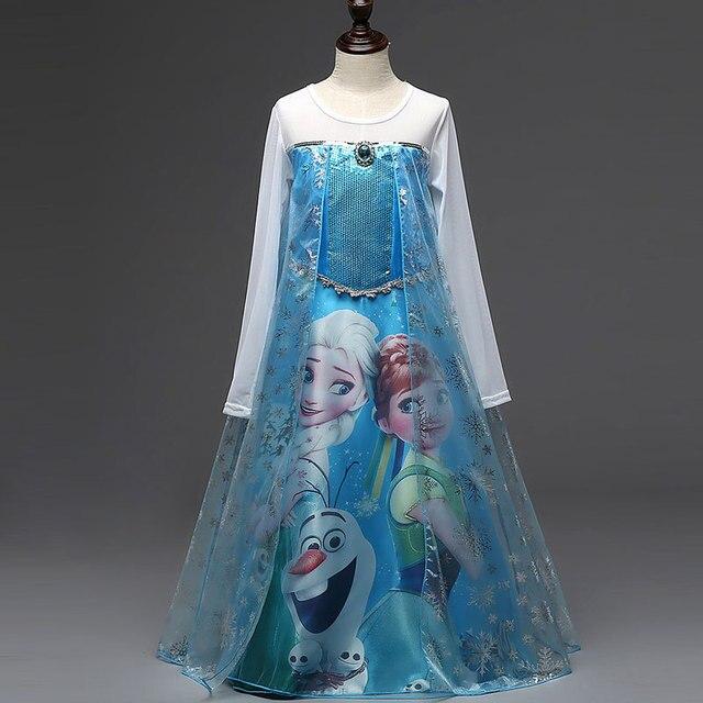 Платья девушки летние бренд малыша одежда для девочек кружева блестками принцесса анна эльза платье снежная королева ну вечеринку ролевая игра костюм