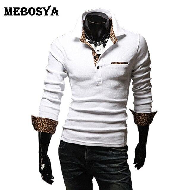 Camisas de Polo de Los Hombres 2016 camisa de polo camisa de manga larga delgado cuello alto patchwork estampado de leopardo macho tee shirt homme hombre bolsillo tee